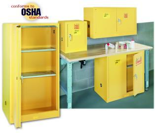 A variety of sizes of yellow flammable cabinets